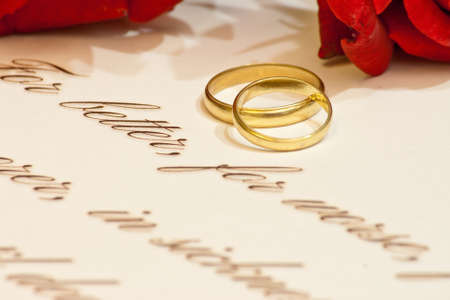 Wedding Rings, Vows And Roses Stock Photo, Picture And Royalty Free Image.  Image 27728119.