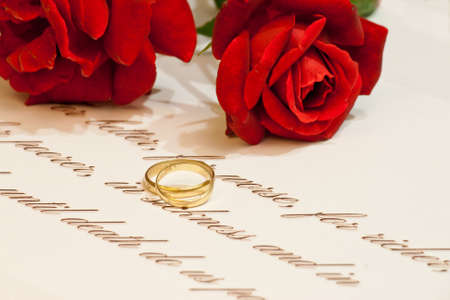 vow: Wedding rings, vows and roses