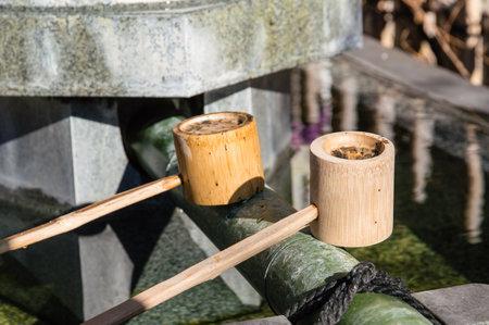 japanese tea garden: Water to purify body and soul,Fukuoka, Japan