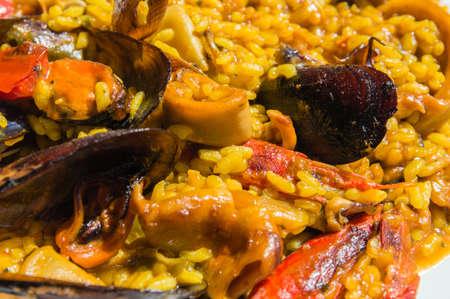 Close up of an spanish paella photo