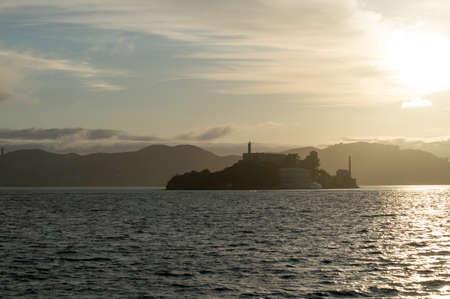 View of Alcatraz island as sun is setting  photo