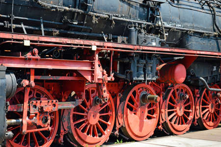 Wheels of historical German Steam train photo