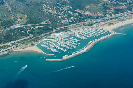 Areal view of  Castelldefels harbour, Barcelona photo