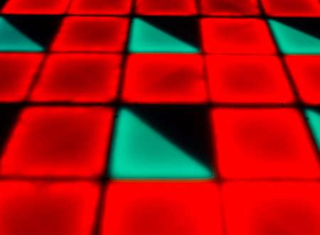 diagonals: colorful square shape lighting of disco dance floor