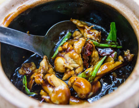 claypot Frog Legs with Green Spring Onions in Brown Sauce photo