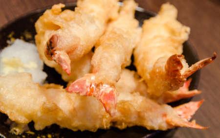 Crevettes tempura Close up Banque d'images