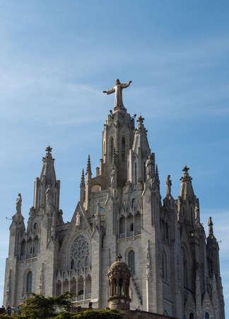 tibidabo: Tibidabo church in Barcelona with statue of Jesus Christ visible