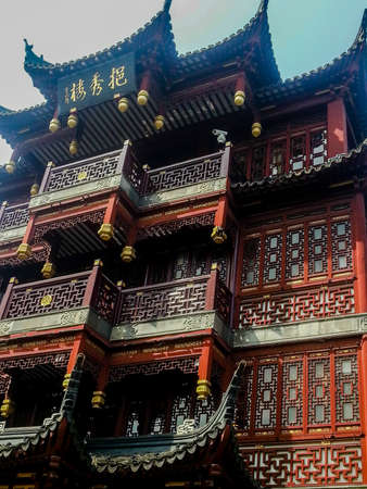 architectural detail in the historic Yuyuan Garden in Shanghai (China).The garden was created in the year 1559 by Pan Yundan