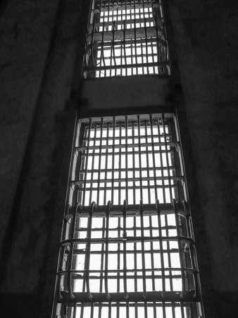 cella carcere: Barre di una cella di prigione, nella prigione di Alcatraz a San Francisco, California