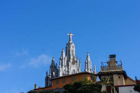 jezus: Tibidabo churchtemple, at the top of tibidabo hill, near Barcelona, Spain. Stock Photo