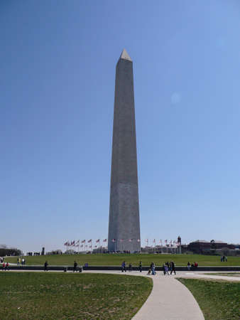 The Washington Monument is a 555 feet obelisk built as a memorial to George Washington, 1st President of the United States. Construction began in 1848 but was only completed in 1884 after the US Govt. stepped in to provide the necessary funds to complete