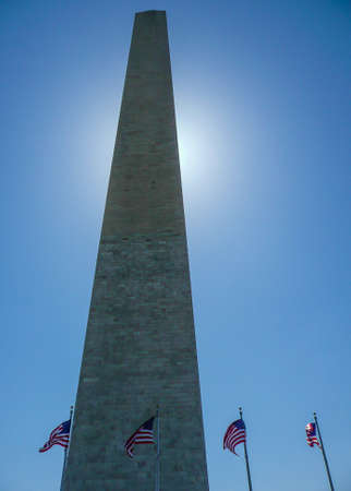 govt: The Washington Monument is a 555 feet obelisk built as a memorial to George Washington, 1st President of the United States. Construction began in 1848 but was only completed in 1884 after the US Govt.