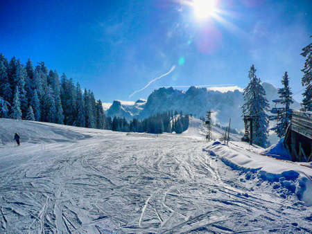 Skiing slope in Austria photo