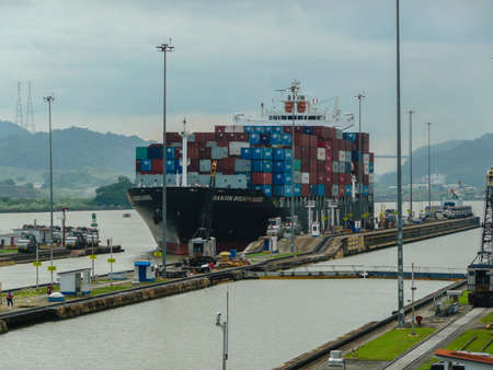 miraflores: Large ship wait to transit the Miraflores locks in the Panama Canal, just outside Panama City.