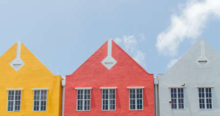 Detail of one of the buildings at the waterfront of Willemstad, Curaçao in the Netherlands Antilles.
