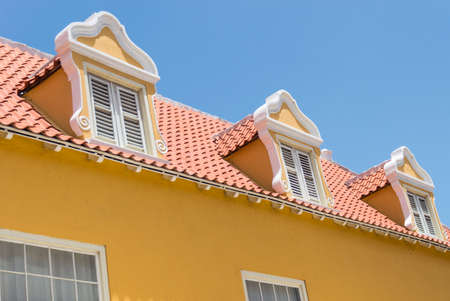 Typical window and roof on old buildings in Curacao.