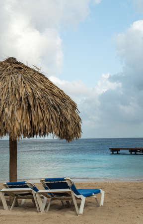 palapa: Beach chairs and palapa thatched umbrella overlooking the ocean
