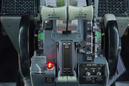 Throttle controls of Engines one and two photo