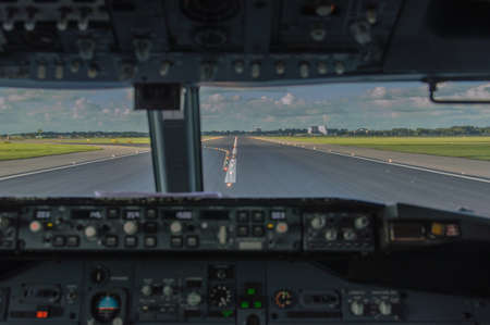 atc: View from a cockpit just after touchdown