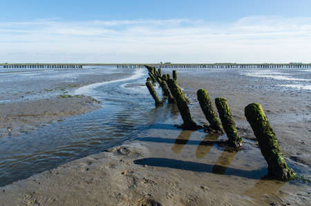 german north sea region: Coastal Feature of the dutch mud flats Stock Photo