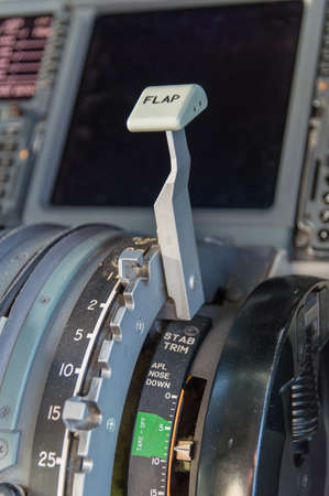 Close up of Flaps Control inside cockpit of Boeing 737-800 photo