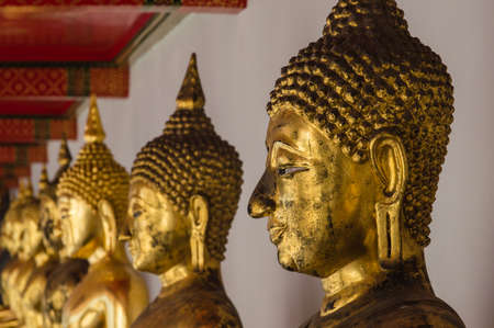 wat pho: Buddha in Wat Pho Temple sequential nicely in Bangkok, Thailand Stock Photo