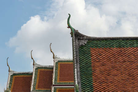 Roof of the temple Wat Pho in Bangkok, Thailand photo