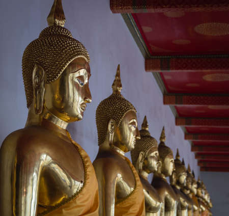 sequential: Buddha in Wat Pho Temple sequential nicely in Bangkok, Thailand Stock Photo