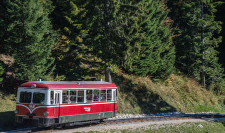 ST. WOLFGANG, AUSTRIA - OCTOBER 19 , 2014: Diesel train railway going to Schafberg Peak (1783m) in St. Wolfgang.