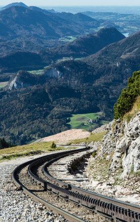 ST. WOLFGANG, AUSTRIA - OCTOBER 19 , 2014: Diesel train railway going to Schafberg Peak (1783m) in St. Wolfgang.