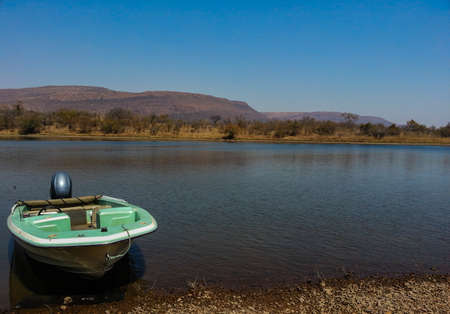 wildlife reserve: motorboat at national wildlife reserve Loskop, South Africa