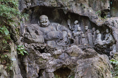Feilai Feng grottoes with fine buddhist stone carvings. It is called