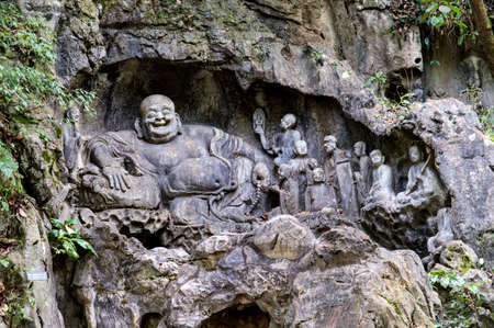 temple mount: Feilai Feng grottoes with fine buddhist stone carvings. It is called