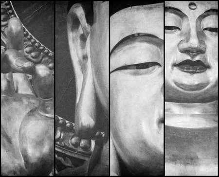 triptico: Tríptico de El Buda de Oro en Lingyin Temple, Hangzhou de China Foto de archivo