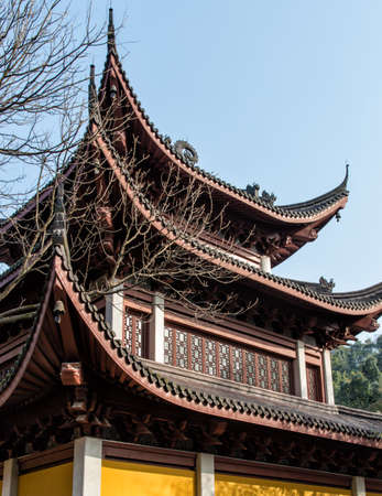 south asian ethnicity: Buildings in Lingyin Temple, Hangzhou, Shandong Province, China Stock Photo