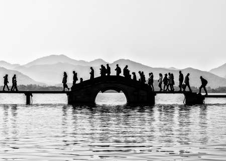 Silhouette bridge in Black and White at westlake, hangzhou, china