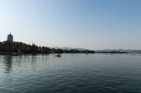 lakefront: hangzhou scenery ,pagoda on the west lake lakefront Stock Photo