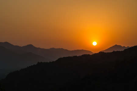 Beautiful Sunset Around Hangzhou Mountains, China photo