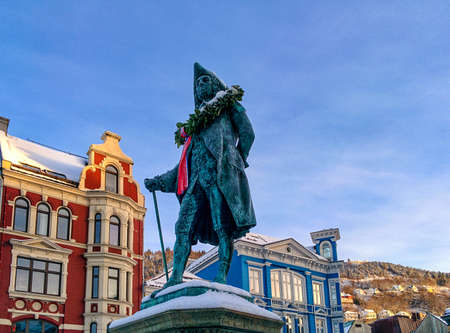 composer: Statue of the composer Holberg, in Bergen, Norway