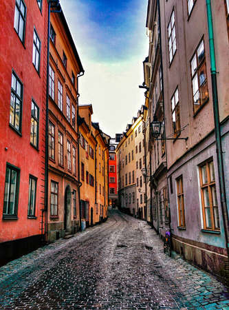 street in Old Town (Gamla Stan) in Stockholm, Sweden photo