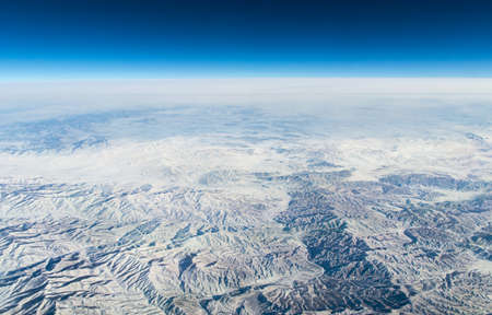 gobi: China, aerial view of Gobi Desert in western China from the airplane, Winterlandscape