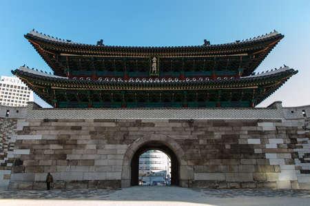 exalted: Sungnyemun gate (Namdaemun, Gate of Exalted Ceremonies, circa 1398) in Seoul, Korea. Is designated as the first National Treasure of South Korea