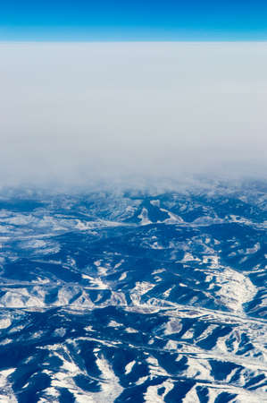 China, aerial view of Gobi Desert in western China from the airplane, Winterlandscape photo