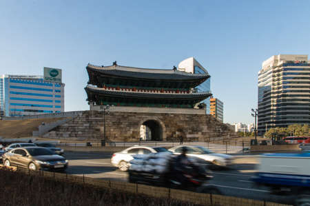 exalted: Sungnyemun gate (Namdaemun, Gate of Exalted Ceremonies, circa 1398) in Seoul, Korea. Is designated as the first National Treasure of South Korea