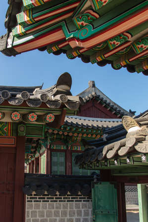 rooftiles: Tile Roof Detail of Traditional Korean Palace and Temples, Seoul, South Korea