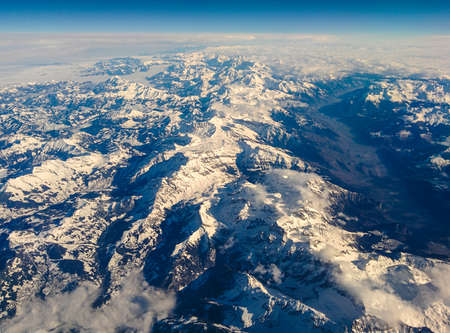 osttirol: The Austrian Alps in Tyrol seen from above under a beautifull blue sky.
