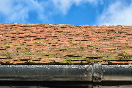 roofing system: red roof on the blue sky