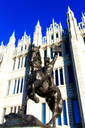 robert bruce: Statue of King Robert the Bruce (King of Scots), outside Marischal College, Aberdeen City Council Headquarter,Scotland Editorial