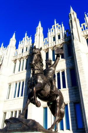 Statue of King Robert the Bruce (King of Scots), outside Marischal College, Aberdeen City Council Headquarter,Scotland Editorial