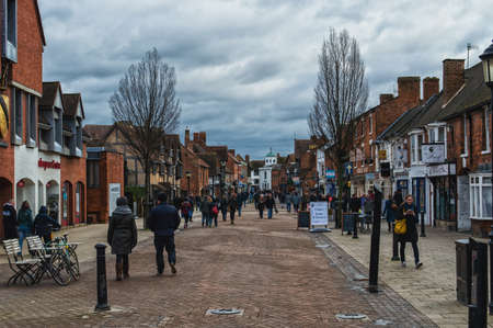 birthplace: STRATFORD UPON AVON, UK - SEPTEMBER 2, 2014: The main street of very touristic town where playwright and poet William Shakespeare was born. There is a house a birthplace